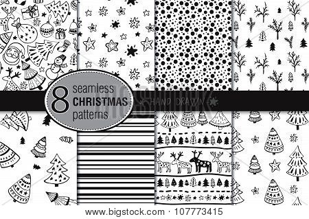 Set of eight seamless hand drawn christmas patterns.