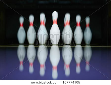 Row of bowling skittles