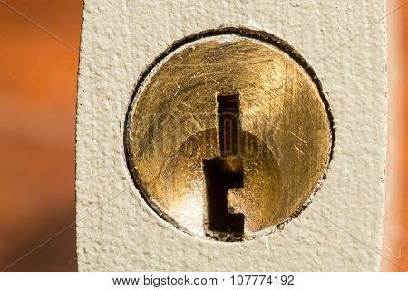 Closeup Of A Keyhole Lock