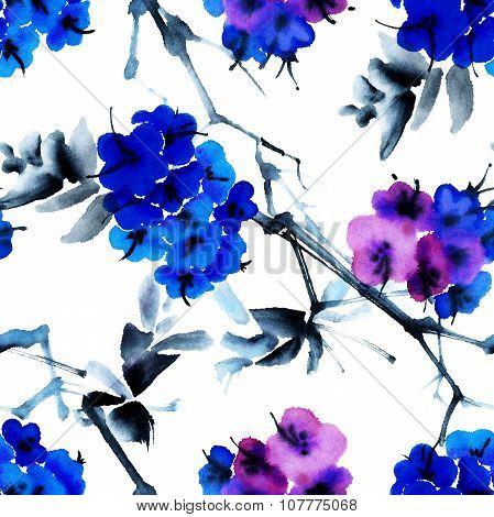 Blue flowers tree