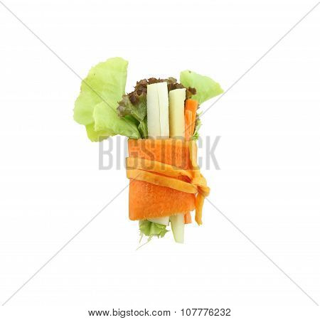Roll Salad Isolated On White.