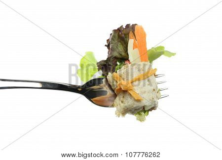 Roll Salad On Fork Isolated On White Background.