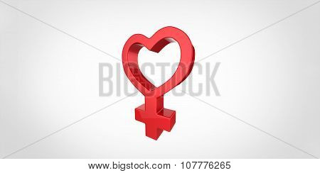 3D Red Heart Shaped Woman Symbol On A Plain Background