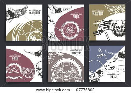 Brochure or flyers design. Motorcycle and  extreme sport theme icons.