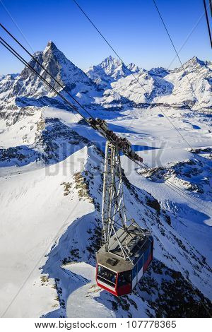 Swiss Alps - winter season in Zermatt - mountain view Matterhorn