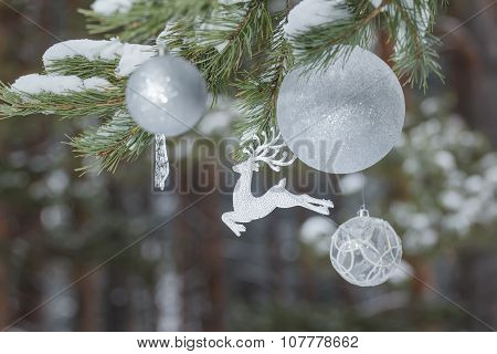 Winter Pine Tree Branches With Glitter Reindeer Ornament And Christmas Baubles At Wood Background