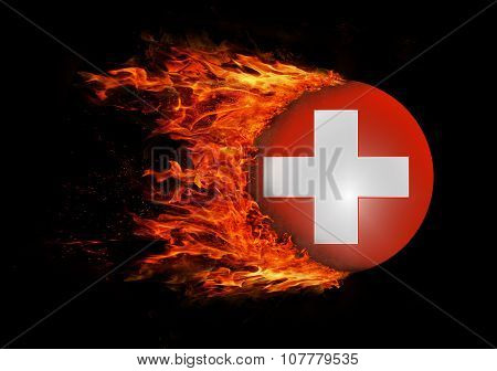 Flag With A Trail Of Fire - Switzerland