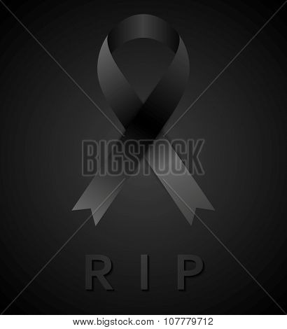 Black mourning tape and rip inscription. Rest in peace. Vector design