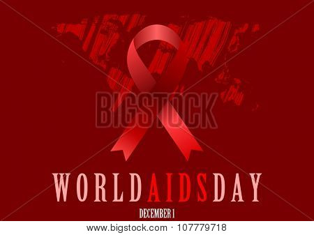 World Aids Day with red ribbon and grunge map. Vector background