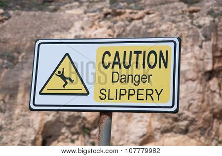 sign Indicating Attention Danger Of Slipping