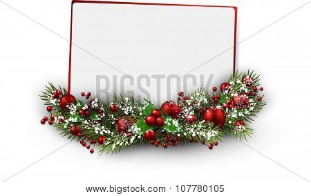 Christmas card with fir branch. Vector illustration.