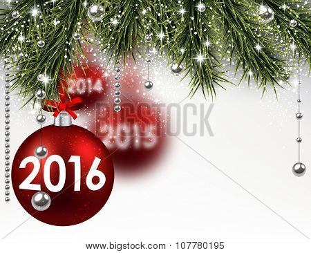 2016 New Year card with fir branches and red balls. Vector Illustration.