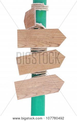 Wooden Signposts Isolated On White Background.
