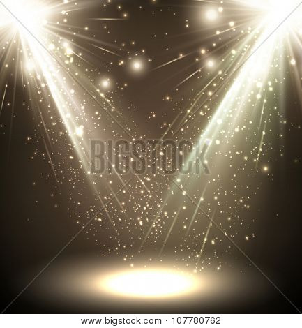Festive abstract sepia background. Vector Illustration.