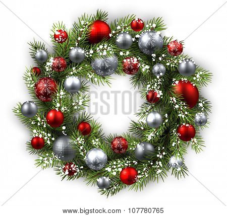 White card with Christmas wreath. Vector paper illustration.