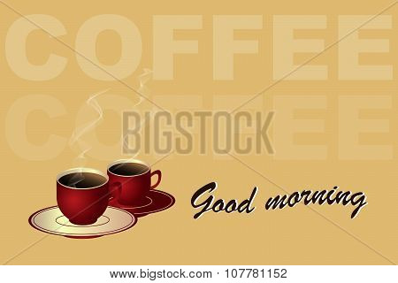 Cup of coffee morning concept