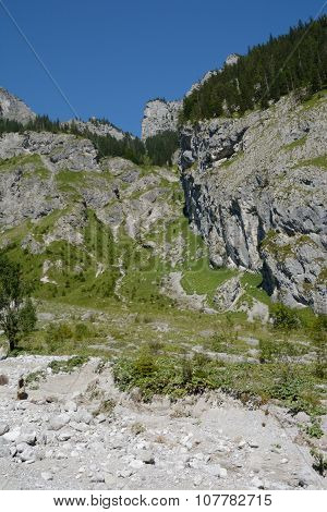 Mountainside In Wimbachtal Valley In Alps In Germany
