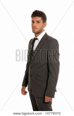 Young Businessman Looking Serious Isolated On White Background