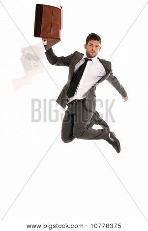 Young Businessman Jumping With Open Briefcase Falling Papers Copy-space Isolated On White