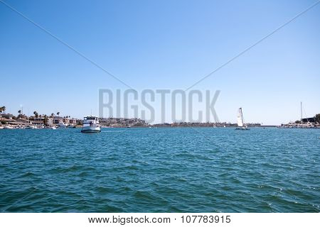 Boats On Water At Marina Del Ray In Southern California
