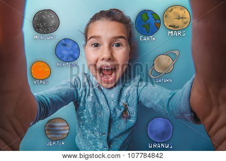 Teen girl making a self laughing mouth open planet of the solar