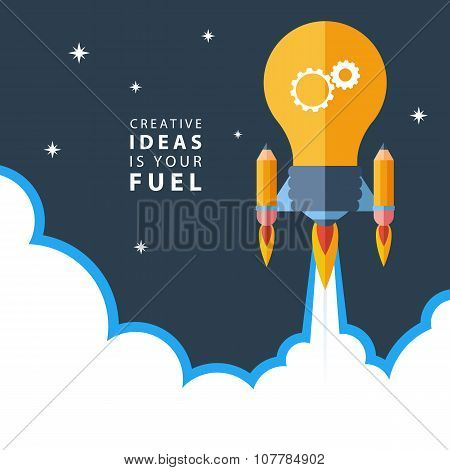 Creative ideas is your fuel. Flat design colorful vector illustration.
