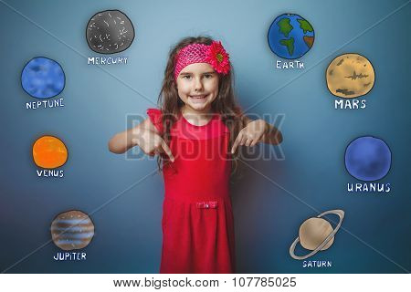 teen girl showing thumbs down and smiling at the planet of the s