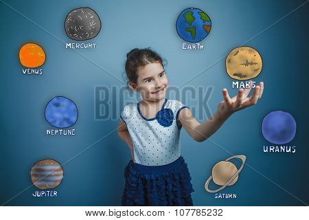 teen girl smiling and holding a news space planet Mars planet of