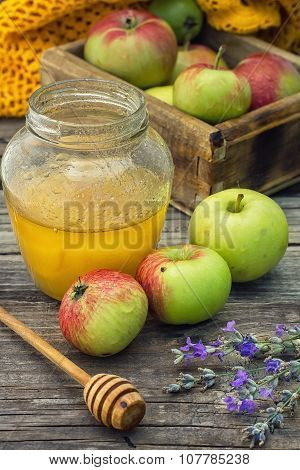 Summer Still Life Of Apples And Honey