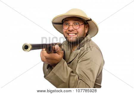 Safari hunter isolated on white