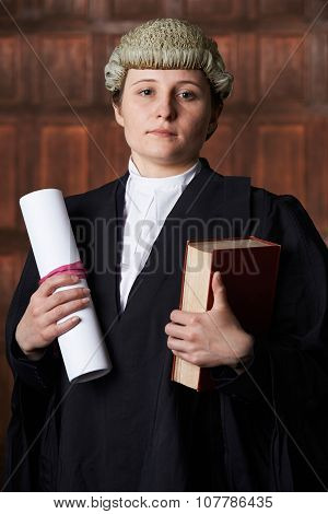 Portrait Of Lawyer In Court Holding Brief And Book