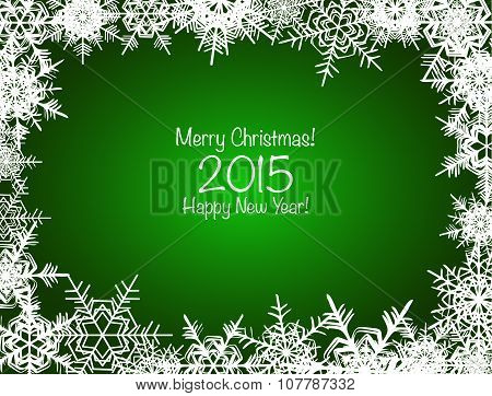 Green and white shiny snowflakes Christmas background