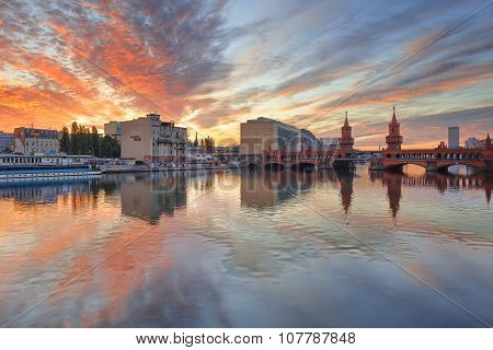 Berlin, Germany, - August 30, 2015: Sunrise on Spree river