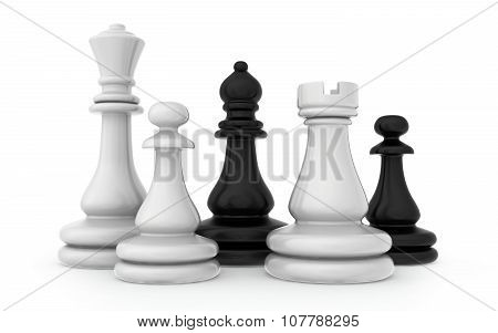 The composition of the chess pieces isolated on white background