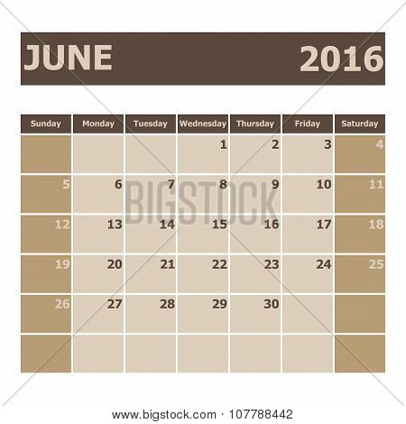 Calendar June 2016, Week Starts From Sunday