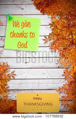 Happy thanksgiving against illustrative image of pushpin on green paper