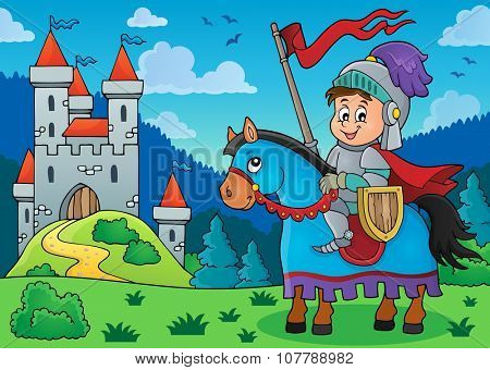 Knight on horse theme image 3 - eps10 vector illustration.