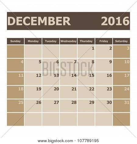 Calendar December 2016, Week Starts From Sunday