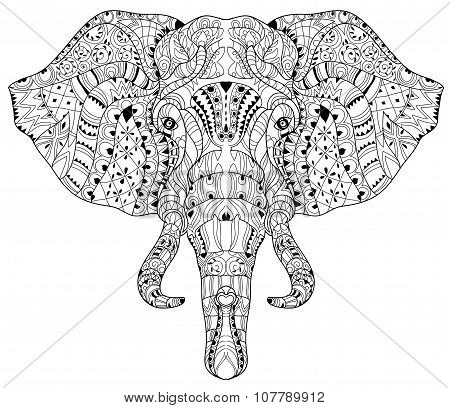 Elephant head doodle on white vector sketch.