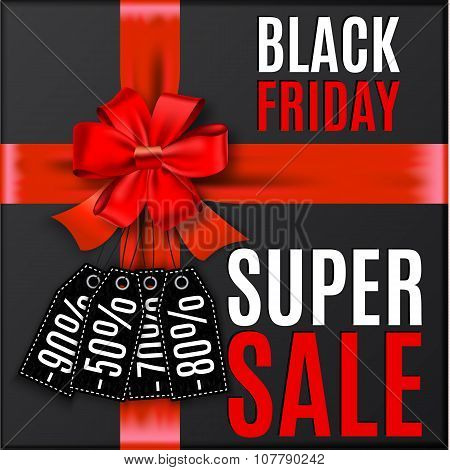 Black friday background with red bow and ribbons