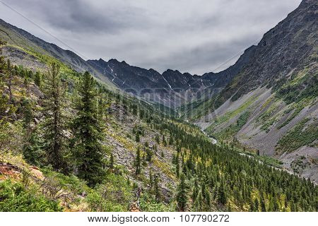 Upper Part Of The Siberian Mountain River Valley In Gloomy Weather