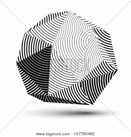 Vector Complicated 3D Figure, Modern Digital Technology Style Form. Abstract Stripy Gray Three-dimen