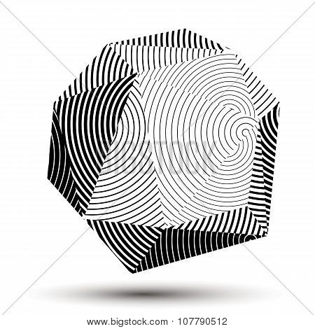 Geometric Monochrome Polygonal Striped Vector Structure, Modern Science And Technology Element. Arch