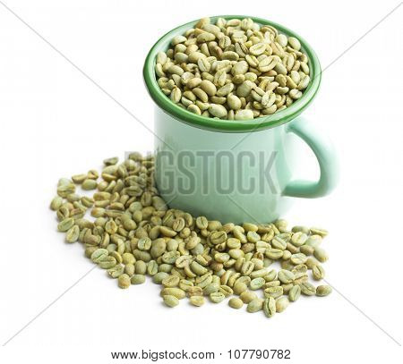 unroasted coffee beans in green mug on white background