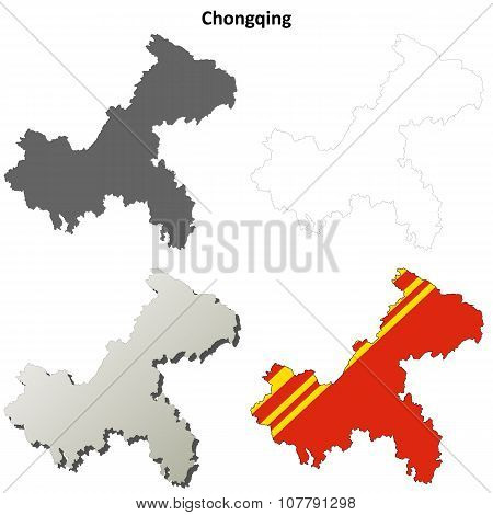 Chongqing blank outline map set