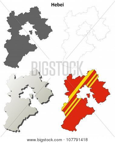 Hebei blank outline map set