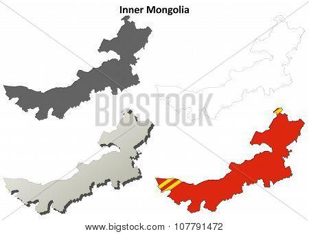 Inner Mongolia blank outline map set