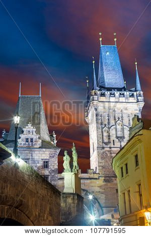 Famous Landmark - Medieval Towers, Sculpture and Lantern, Prague, Europe