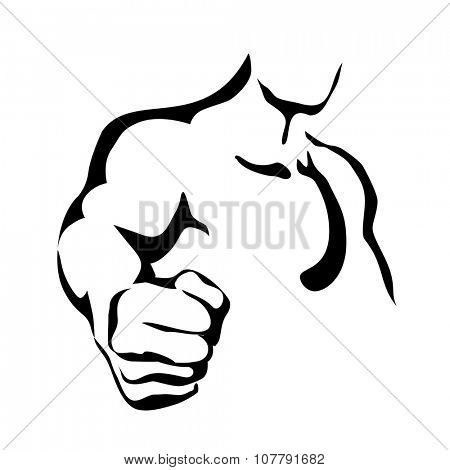 Vector Line Contour Graphic Art Fist of Athletic Man