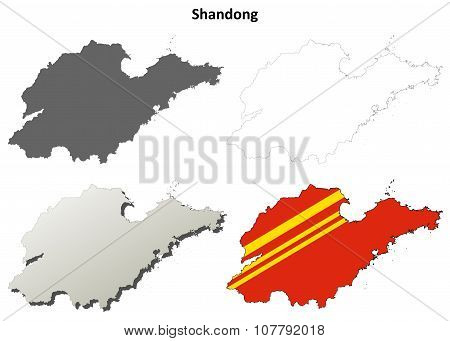 Shandong blank outline map set